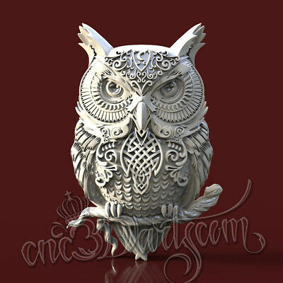 3D Model STL for CNC Router Artcam Aspire Celtic Owl Jewels Animal Cut3D Vcarve