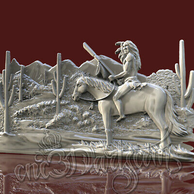 3D Model STL for CNC Router Artcam Aspire Redhead Horse Panel Cut3D Vcarve