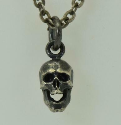 Antique 19th Century Victorian Sterling Silver Skull charm pendant fob on chain