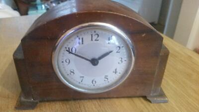 Vintage hardwood mantle clock, art deco style
