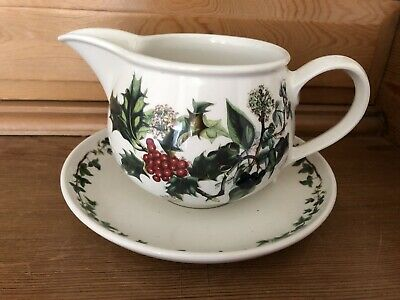 PORTMEIRION The Holly & The Ivy Sauce  / Gravy Jug and Stand