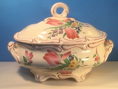 French Faience Tureen Flower Bouquet Floral Lidded Tureen