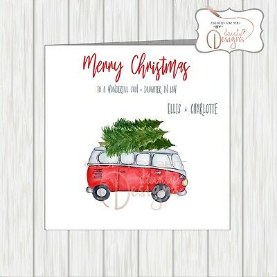 Personalised Campervan Christmas Xmas Card Son Daughter In Law Wife Husband Dad