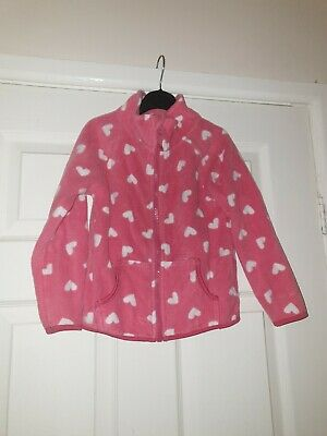 Girls Pink And White Heart Fleece Age 5-6 Years Primark