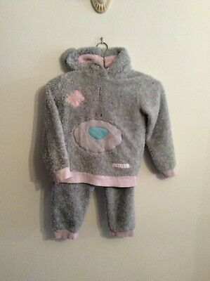 GIRLS THICK FLEECE PYJAMAS 7 years TATTY TEDDY - GREY WITH PINK CUFFS GCON