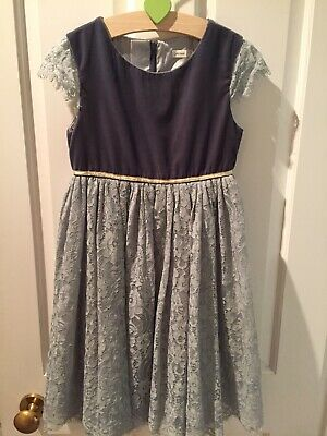 john lewis girls Blue /gold party dress age 8
