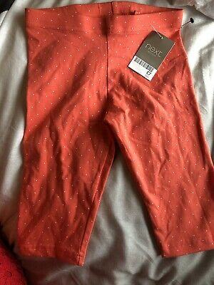 New Next Girls Cropped Leggings Age 5 Years Pale Orange With Dots New With Tags