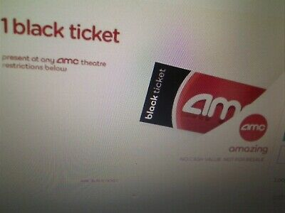 AMC Theater (1)  Black Movie Ticket - AMC Theatres  No Expiration *E-Delivery
