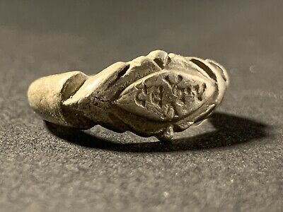 Detailed Ancient Roman Military Legionary Silver Ring With Writing Circa. 100 Ad
