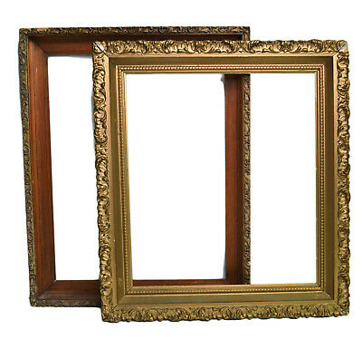 Large Ornate Wooden Picture Frames PAIR GOLD GILT 1940's Floral Carved Nouveau