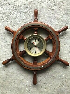 "Ships Wheel Captain's Clock, 18"" Beautiful Brass Trimmed"