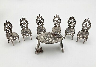Vintage Sterling Silver Miniature Table and Chairs