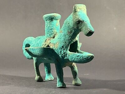Ancient Luristan Near Eastern Bronze Oil Lamp In The Form Of A Horse Circa.700Bc