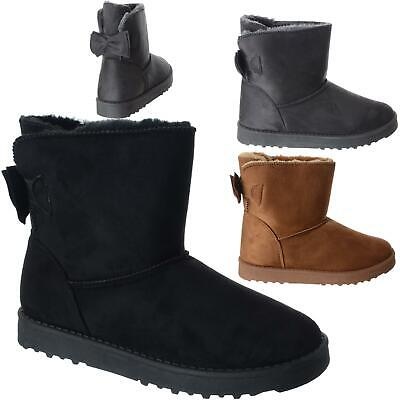 Ladies Fur Lined Ankle Bow Boots Womens Snugg Grip Sole Winter Warm Shoes Size