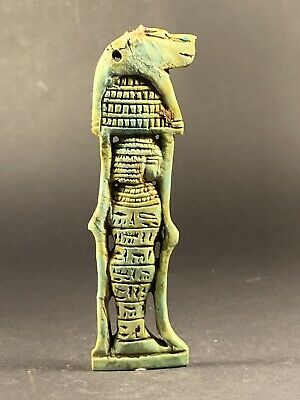 High Detailed Ancient Egyptian Faience Anubis Shabti Hieroglyphs Circa 990-332Bc