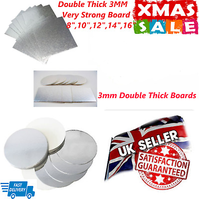 """Cake Boards Double Thick 3MM Base Very Strong 6/"""",7/"""",8/"""",9/"""",10/"""",12/"""" Inch Card"""