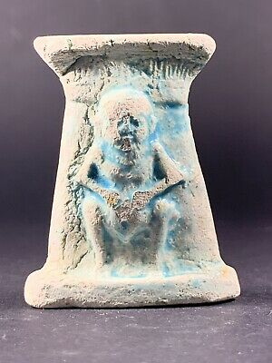 Rare Ancient Egyptian Bes God Statue Icon Of Sex Faience Sculpture Circa. 700 Bc