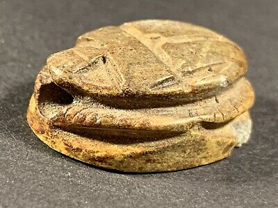 Ancient Egyptian Scarab - Beautiful Item With Hieroglyphic Base Circa. 770-332Ad