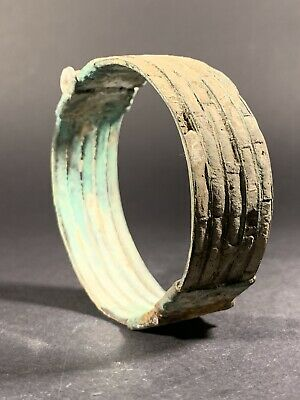 Ancient Viking Norse Looted Bronze Bracelet With Stone Filigree Work Circa 900Ad