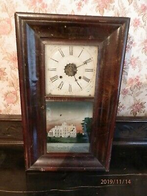 VINTAGE WOODEN PENDULUM WALL CLOCK  (not working) needs restoration Pre 1900