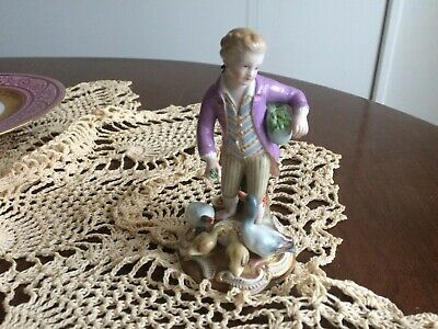 Antique 19th Century Meissen German Porcelain Figurine of Boy Feeding  Ducks