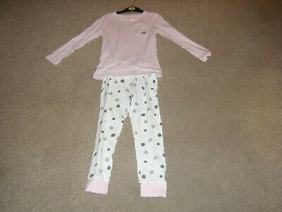 Girls Pink Long Sleeved Pyjamas Age 6-7 Years from F & F