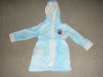 Girl's Blue and White Hooded Frozen Themed Dressing Gown Age 4 Years from Disney