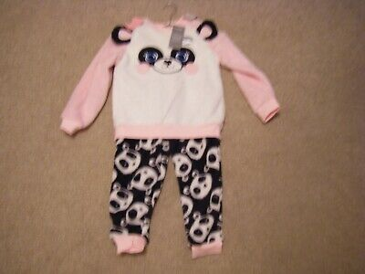 Girls Back/White/Pink Fleecy Pyjamas Age 6-7 Years from George