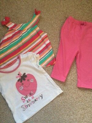 Baby Girls Outfit Bundle, 2x Tops And Matching Leggings, Age 3-6 Months