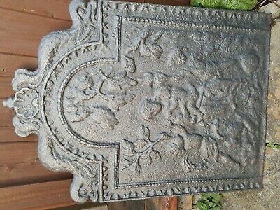Large antique cast iron fire back.