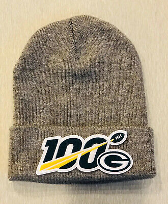NFL 100 Seasons 100th Years GREEN BAY PACKERS NEW Toboggan Patch Style GRAY