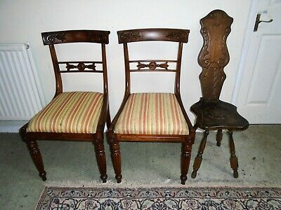 2 Victorian Bedroom Chairs And 1 Welsh Oak Spinning Chair.