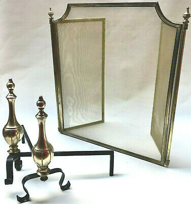 Vintage French Brass Three Part Folding Fire Guard Screen & Matching Fire Dogs