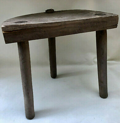 Antique French Rustic Handmade 3 Leg Wooden Milking Stool With Half Moon Seat
