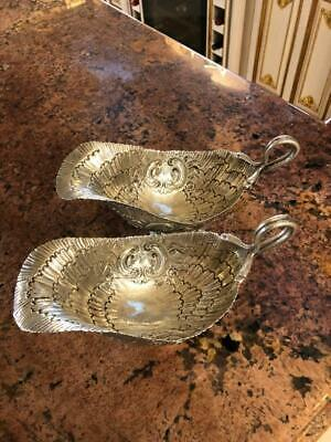 Pair Antique German Solid Silver Sauce Boats/Gravy Boat c 1910