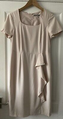 Marks & Spencer NEW £45 Pale Pink Ruffle Dress Fitted Party Christmas 14 Formal