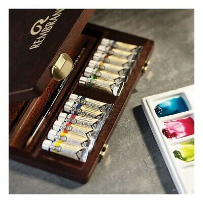 NEW Rembrandt Artists Water Colour Wooden Box - TRADITIONAL - 5ml Tubes