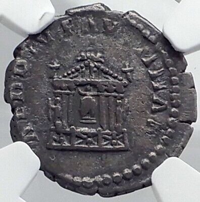 Diva FAUSTINA I Senior TEMPLE Ancient 141AD Silver Genuine Roman Coin NGC i81756