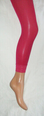 Age 8-9 Girls Pink Footless Tights. Lace Trims