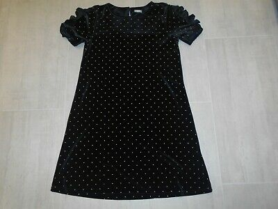 NEXT Girls Dress age 13 years Black Velour party dress gold dots Christmas teen