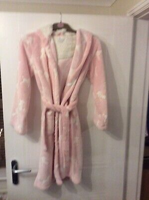 Girls Pink Hooded Dressing Gown From Blue Zoo Age  13-14