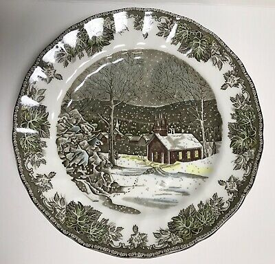 "SET of 4 Friendly Village 10"" DINNER PLATES School House ENGLAND Johnson Bros"