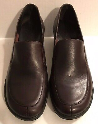 Clark's Mid Heel Slip-On Women's Loafer Size 7M Brown Leather
