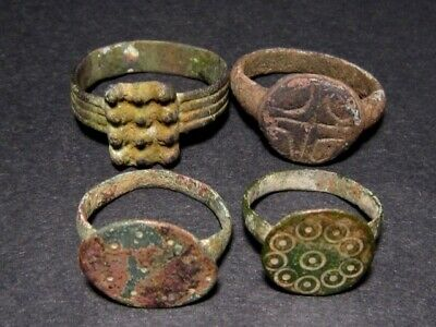LOT of 4 PCS. ANCIENT ROMAN , BYZANTINE AND MEDIEVAL FINGER RINGS, TOP VARIETY