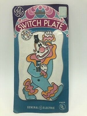 Vintage 1970s GE Clown Switch Plate Single Switchplate NOS