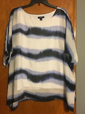 Alfani Plus Size 1X Womens Navy White Stripe Printed Sheer Blouse Top Pull Over