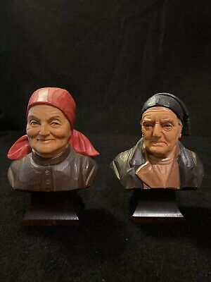 2 Vtg Wood Carved Brienzer Holz-Schnitzerei Old Man & Woman Bust Figurines Swiss
