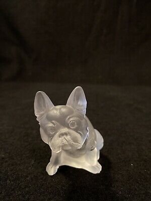 Vintage Frosted Clear Glass French Bulldog Figurine Tiffin Glass