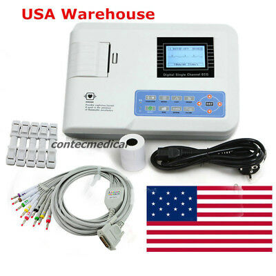 CE FDA ECG100G Digital One channel 12-lead ECG/EKG machine Electrocardiograph US
