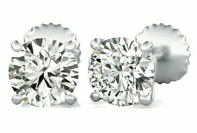 1.00 ct. T.W. Genuine Round Diamond Stud Earrings 14K White, Rose or Yellow Gold
